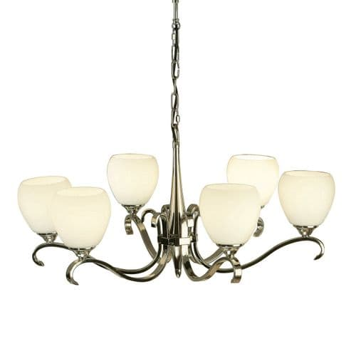 Columbia Nickel 6 Light Chandelier with Opal Shades - Interiors 1900