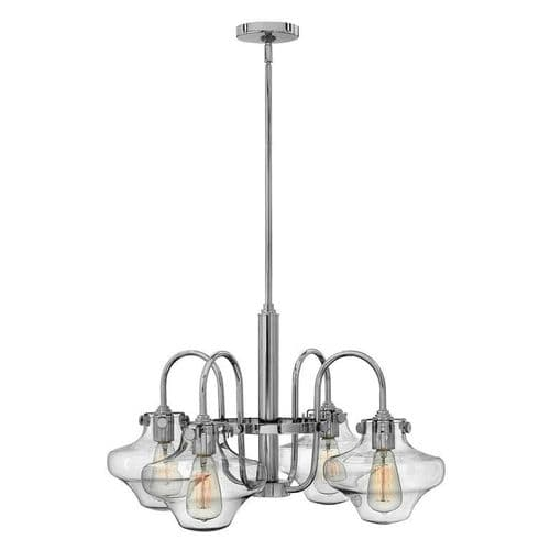 Congress Chrome 4 Light Ceiling Pendant with Bulbous Glass - Hinkley Lighting