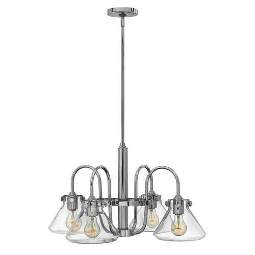 Congress Chrome 4 Light Ceiling Pendant with Triangular Glass - Hinkley Lighting