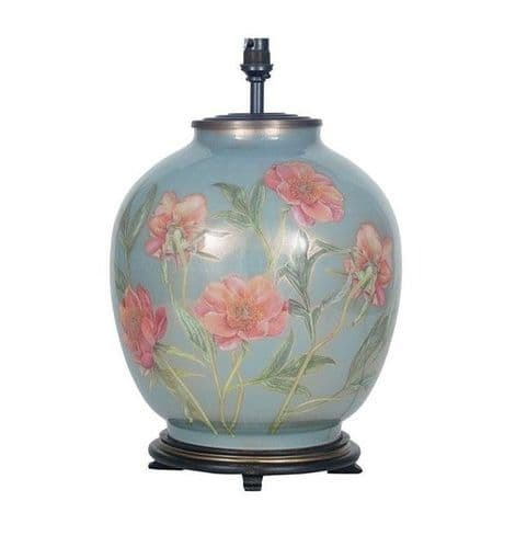 Coral Peony Large Round Table Lamp - Jenny Worrall