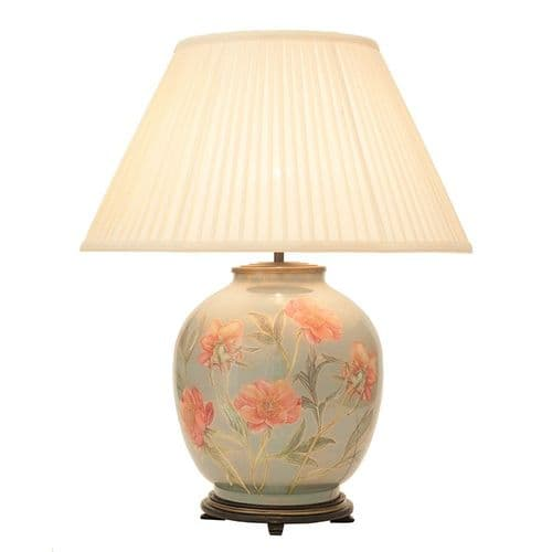 Coral Peony Large Round Table Lamp with Shade - Jenny Worrall