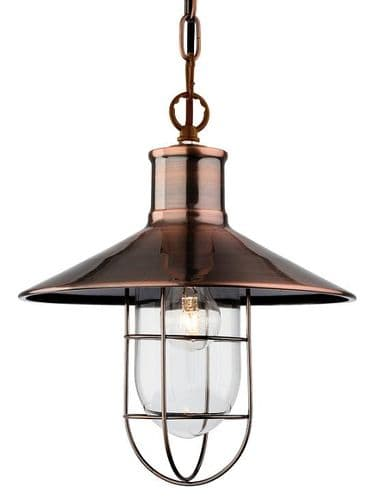 Crescent Antique Copper Single Light Pendant - Firstlight Lighting