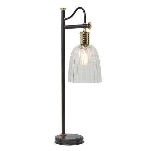 Douille Black and Polished Brass Table Lamp with Shade - Elstead Lighting