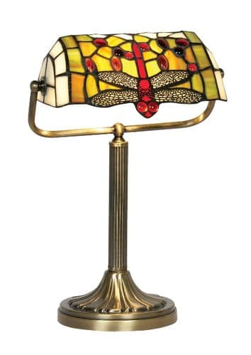 Dragonfly Tiffany Bankers Lamp - Oaks Lighting