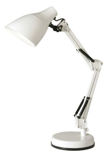 Draven White Desk Lamp - Oaks Lighting