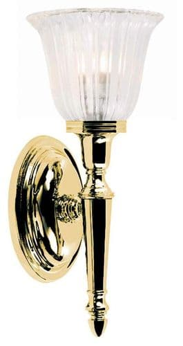 Dryden Brass Wall Light with Ribbed Glass - Elstead Lighting