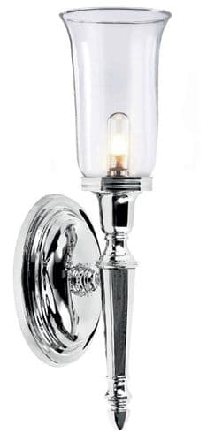 Dryden Chrome Wall Light with Clear Glass - Elstead Lighting