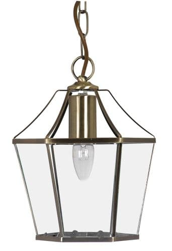 Dulverton Antique Brass Interior Lantern - Oaks Lighting
