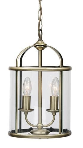 Fern Antique Brass 2 Light Interior Lantern - Oaks Lighting