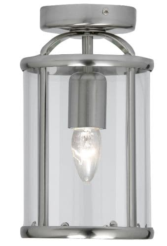 Fern Antique Chrome Flush Lantern - Oaks Lighting