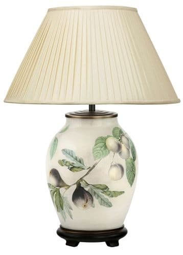 Fig and Plum Medium Oval Table Lamp with Shade - Jenny Worrall