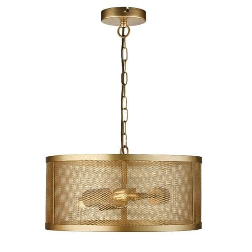 Fishnet 3 Light Gold Ceiling Light Pendant - Searchlight Lighting