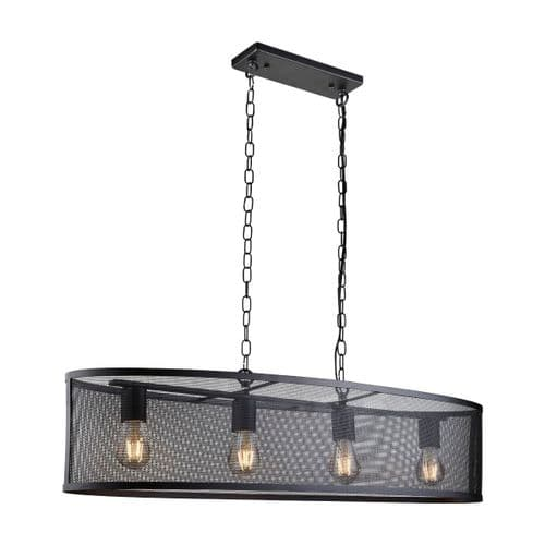 Fishnet 4 Light Black Linear Ceiling Light Pendant - Searchlight Lighting
