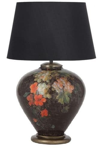 Fruit and Flower Ginger Jar Table Lamp with Black Shade - Jenny Worrall