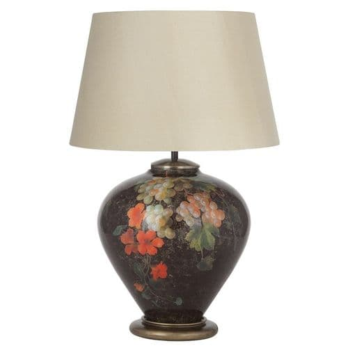 Fruit and Flower Ginger Jar Table Lamp with Taupe Shade - Jenny Worrall