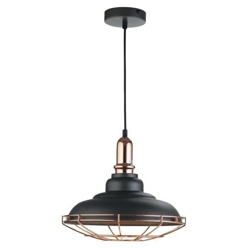 Ghent Black & Copper Single Light Pendant - Oaks Lighting