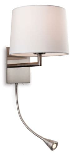 Grand Brushed Steel Wall Light with LED Reading Light - Firstlight Lighting