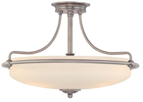 Griffin Antique Nickel Small Semi-Flush Ceiling Light - Quoizel Lighting