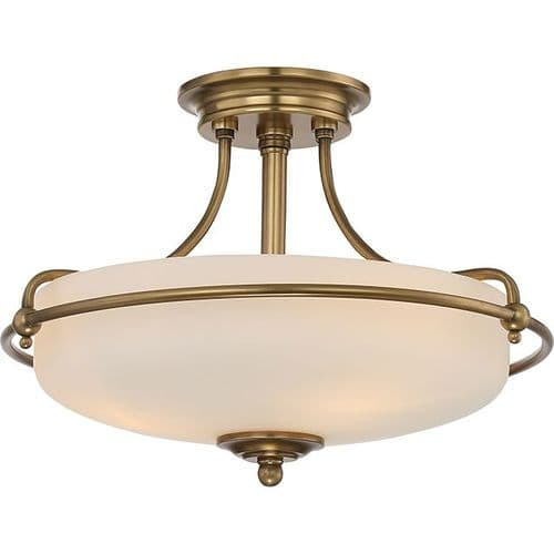 Griffin Weathered Brass Small Semi-Flush Ceiling Light - Quoizel Lighting