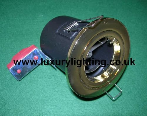 GU10 Mains Voltage Fire Rated Downlight Fixed Brass