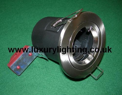 GU10 Mains Voltage Fire Rated Downlight Fixed Brushed Chrome