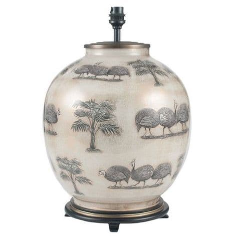 Guinea Fowl Large Round Table Lamp - Jenny Worrall