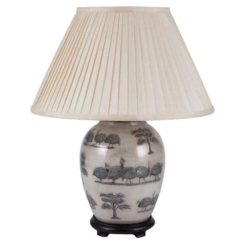 Guinea Fowl Medium Oval Table Lamp with Shade - Jenny Worrall