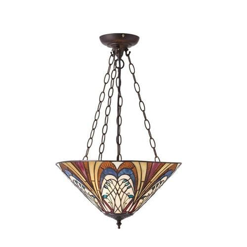 Hector Tiffany Inverted Ceiling Light Pendant - Interiors 1900