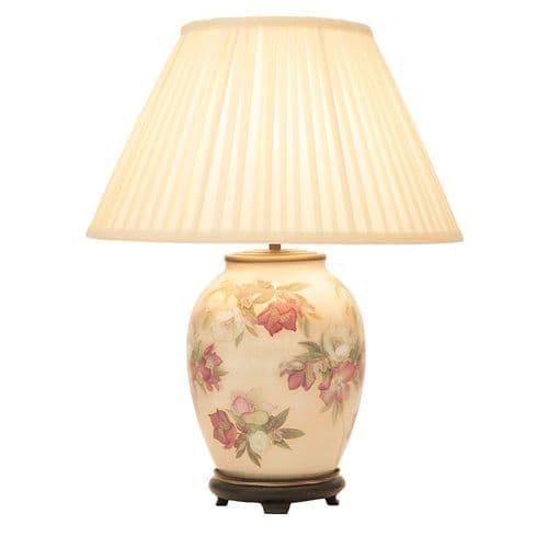Hellebore Medium Oval Table Lamp with Shade - Jenny Worrall