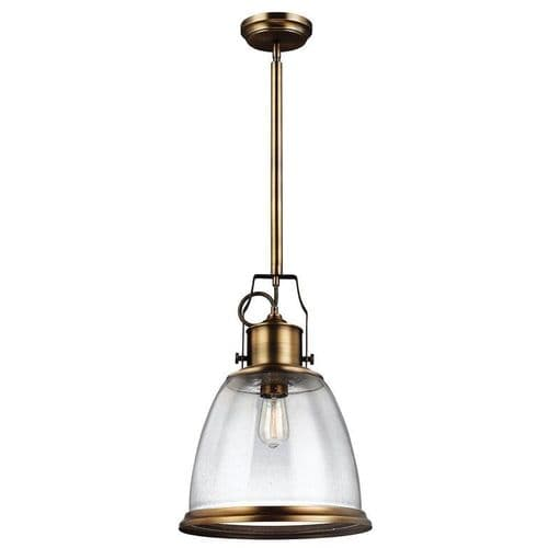 Hobson Aged Brass Large Single Light Pendant - Feiss Lighting