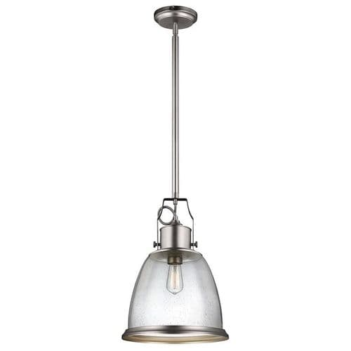 Hobson Satin Nickel Large Single Light Pendant - Feiss Lighting