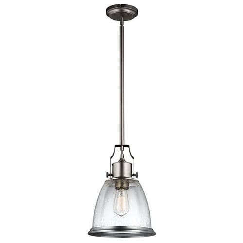 Hobson Satin Nickel Medium Single Light Pendant - Feiss Lighting