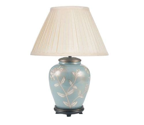 Honeysuckle on Blue Table Lamp with Shade - Jenny Worrall