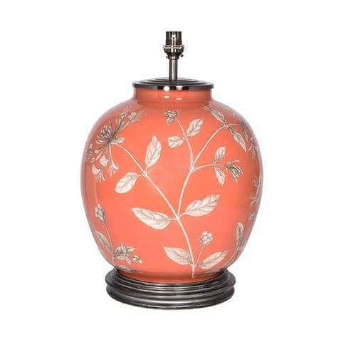 Honeysuckle on Book Room Red Large Round Table Lamp - Jenny Worrall