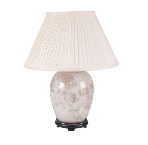 Honeysuckle on White Medium Oval Table Lamp with Shade - Jenny Worrall
