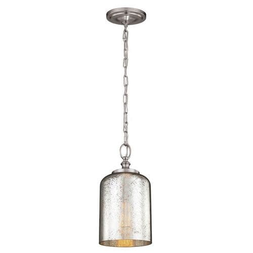 Hounslow Brushed Steel Single Light Pendant - Feiss Lighting
