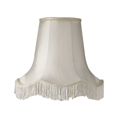 "Ivory 14"" Scalloped Fringed Faux Silk Lamp Shade - Oaks Lighting"