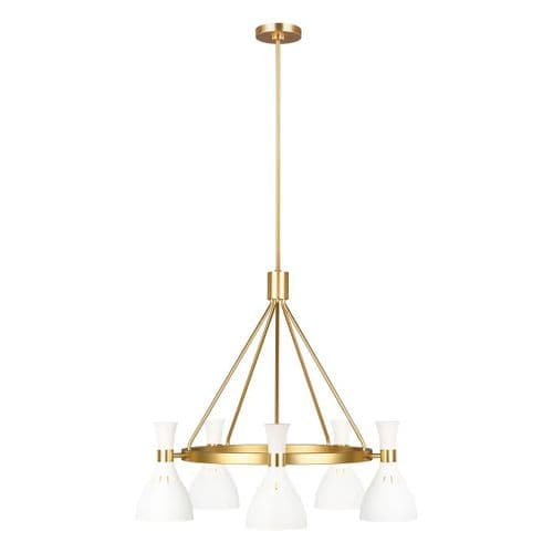 Joan White And Brass Ceiling Light - Feiss Lighting