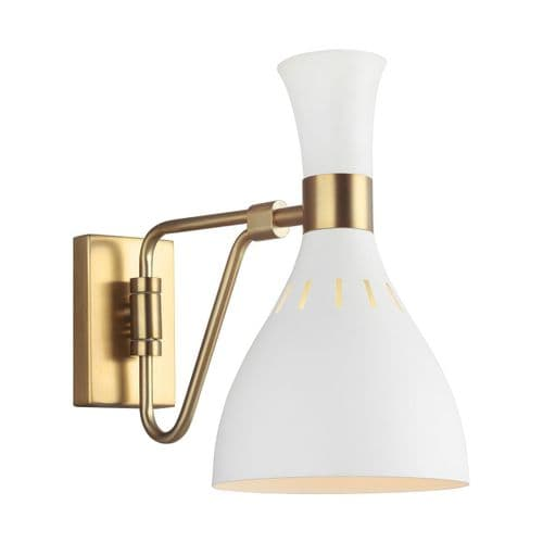 Joan White And Brass Wall Light - Feiss Lighting