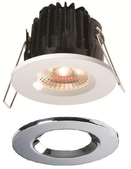 LED Fire Rated Downlight Fixed IP65 Polished Chrome 7 Watt Cool White | Fireknight LED Downlights | Luxury Lighting