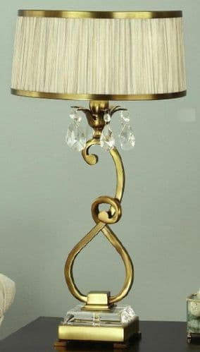 Oksana Antique Brass Table Lamp with Beige Shade - Interiors 1900