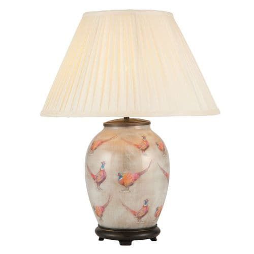 Pheasant Medium Oval Table Lamp with Shade - Jenny Worrall