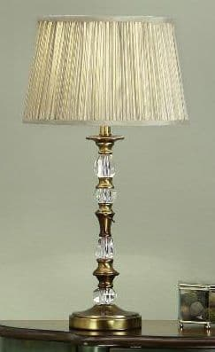 Polina Antique Brass Small Table Lamp with Beige Shade - Interiors 1900