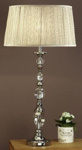 Polina Nickel Large Table Lamp with Beige Shade - Interiors 1900