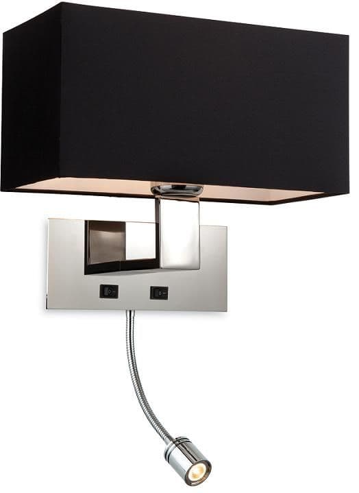 Firstlight Prince Black Wall Light with LED Reading Light | 8608BK | Firstlight Lighting | Luxury Lighting
