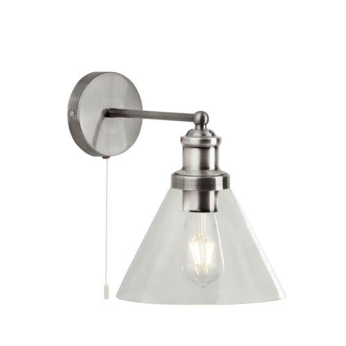 Pyramid Silver Switched Wall Light - Searchlight Lighting