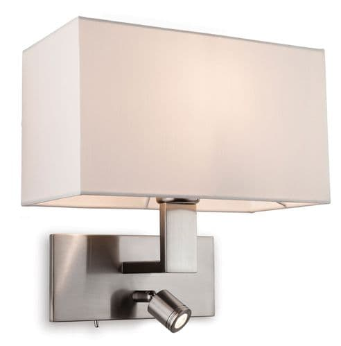 Raffles Brushed Steel Wall Light with LED Reading Light and Cream Shade  - Firstlight Lighting