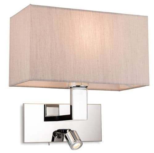 Raffles Chrome Wall Light with LED Reading Light and Oyster Shade  - Firstlight Lighting