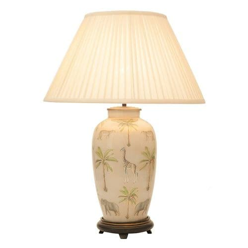 Safari Tall Urn Table Lamp with Shade - Jenny Worrall