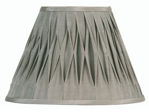 "Soft Grey 20"" Pinched Pleat Sutlej Silk Lamp Shade - Oaks Lighting"
